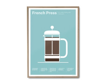 French Press Coffee Poster – Coffee print – Coffee art – Drinks print – Coffee gifts – Coffee lovers gifts – Kitchen poster