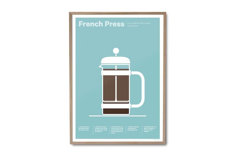 French Press Coffee Poster  Coffee print  Coffee art  image 0