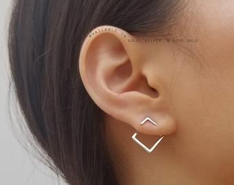 Ear Jacket, Ear Jacket Earrings, Geometric Ear Jackets, Square Ear Jackets, Gold Ear Jackets, Front and Back Earrings,  TINA EAR JACKETS