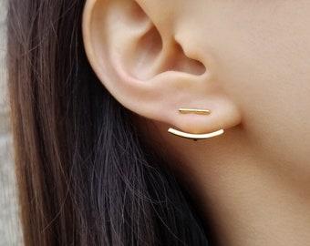 Ear jacket Single ear jacket Rhodium ear Filigree ear jacket Trendy earrings Pair ear jacket Ear jacket earrings Silver ear jacket
