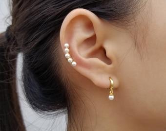 No Piercing Star Ear Cuff No Piercing Freshwater Pearl Ear Lobe Cuff Real Pearl Dangle Lobe Cuff Asymmetric Ear Lobe Cuff Earring