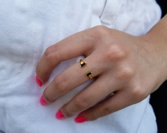 SALE Tiny Onyx Ring,Stack Ring,February Birthstone Ring,Gold Ring,Cute Ring,Dainty Ring,Black Ring,Prong Set