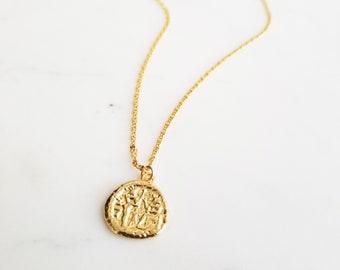 a8d17d1baa Coin Necklace, Medallion Necklace, Gold Pendant Necklace, Round Pendant  Necklace, Vintage Pendant Necklace, Gold Medallion, ZOE NECKLACE
