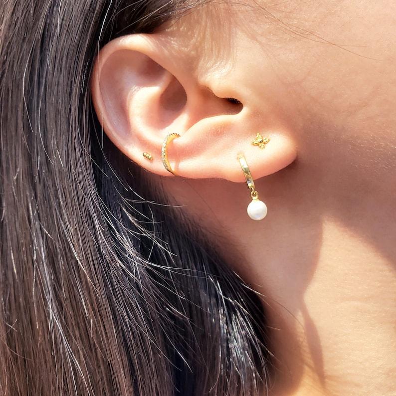 Pearl Heart Earrings  Huggie  Gold Earrings  Pendant Handmade Earrings Earrings  Huggies  Nickel Free Earrings  Pearl Heart Huggie