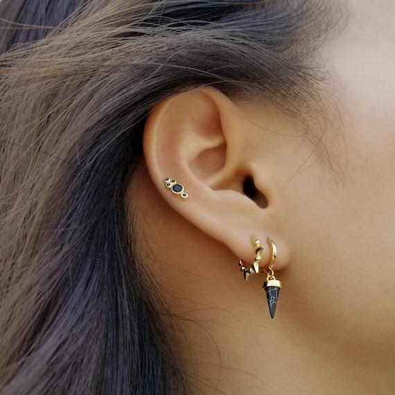 VADA EARRINGS Tiny Dangle Earrings Spike Earrings Black Stone Earrings Gold Huggie Hoops Black Marble Drop Hoops Minimalist Earrings