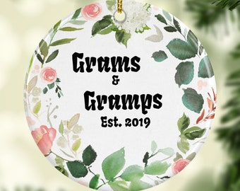 Grams and Gramps Established 2021 Personalized Christmas Ornaments Perfect Gift For New Grandparents