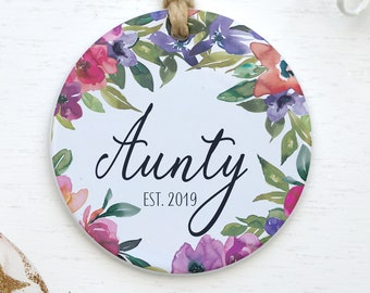 Aunty Established 2021 Personalized Ornament Christmas Present Auntie Pregnancy Reveal Baby Shower Gift For New Aunt