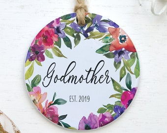 Godmother Established 2021 Personalized Christmas Ornament Gift For New God Mother Baby Shower Pregnancy Reveal Present