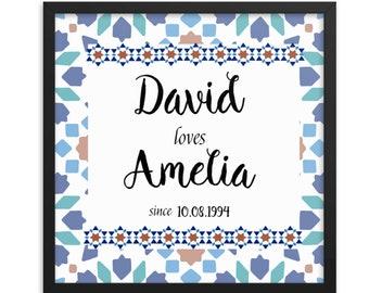 Personalized 25th Anniversary Gift Azulejo Tile Art Framed Wall Art Perfect Wedding Gift Housewarming Present Geometric Moorish Mosaic