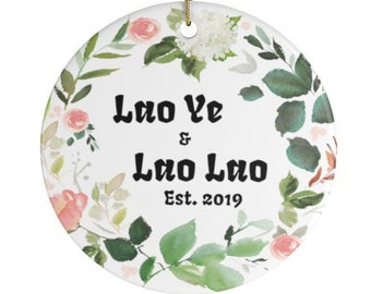 LaoYe and Lao Lao Established 2021 Personalized Christmas Ornaments Present For New Chinese Grandparents Mandarin China