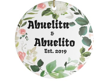 Abuelita and Abuelito Established 2021 Personalized Christmas Ornaments Perfect Gift For New Mexican Grandparents Mexico Spanish
