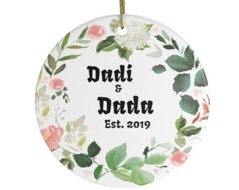 Dadi and Dada Established 2021 Personalized Christmas Ornaments Perfect Gift For New Indian Grandparents Hindi From India