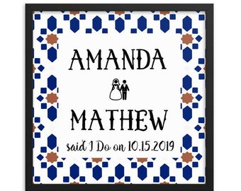 Personalized Wedding Gift Mosaic Tile Art Framed Wall Art Perfect For Newly Wed Couples Bride Groom Names Geometric Moorish Square Frames