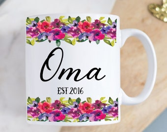 Personalized Floral Mug Perfect Mothers Day Gift for New Grandmother Oma Established 2021 German From Germany Pregnancy Reveal Gift