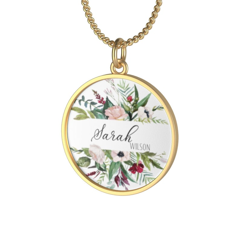 Personalized Pendant Necklace with Name Unique Bridesmaid Gift image 0