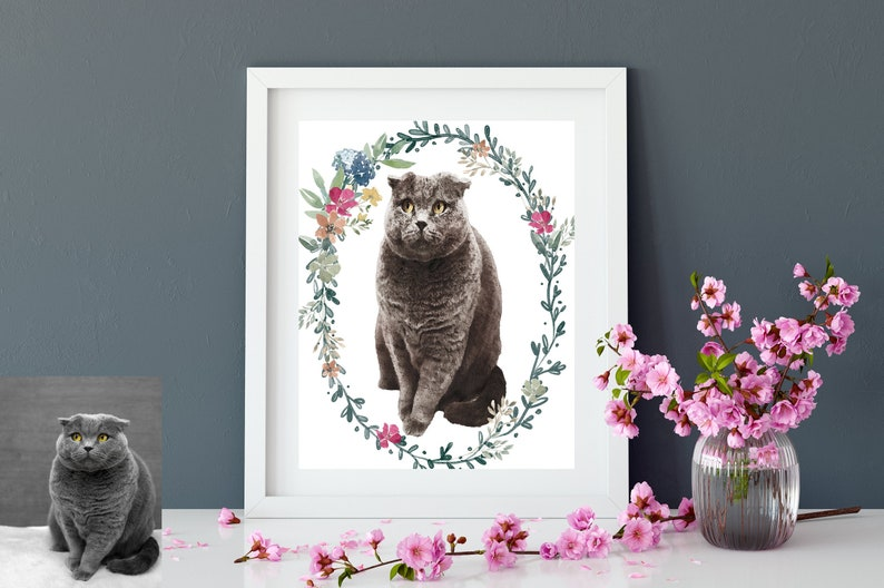 Custom Pet Cat Portrait Perfect Christmas Gift Special Home image 0