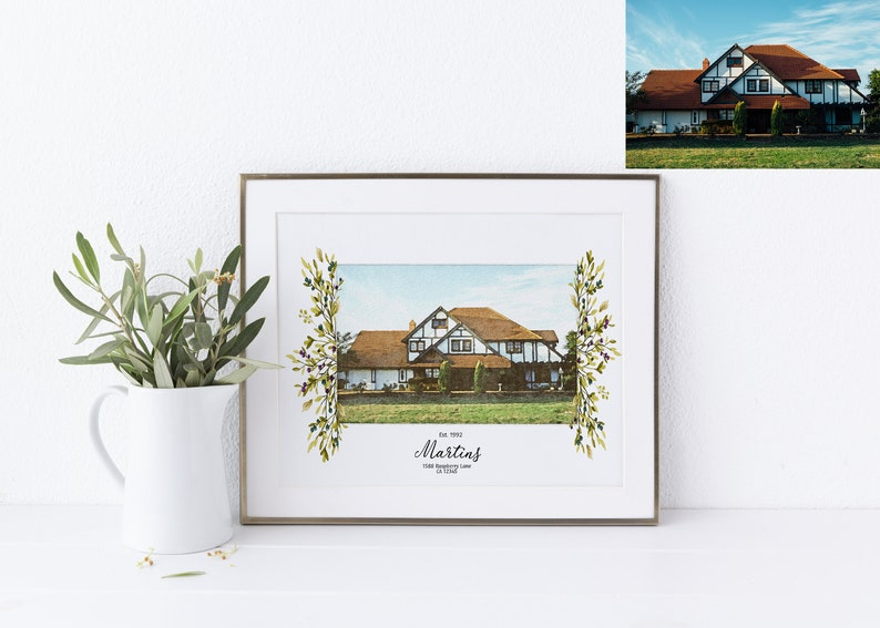 Personalized Watercolor House Portrait Perfect Wedding Gift image 0