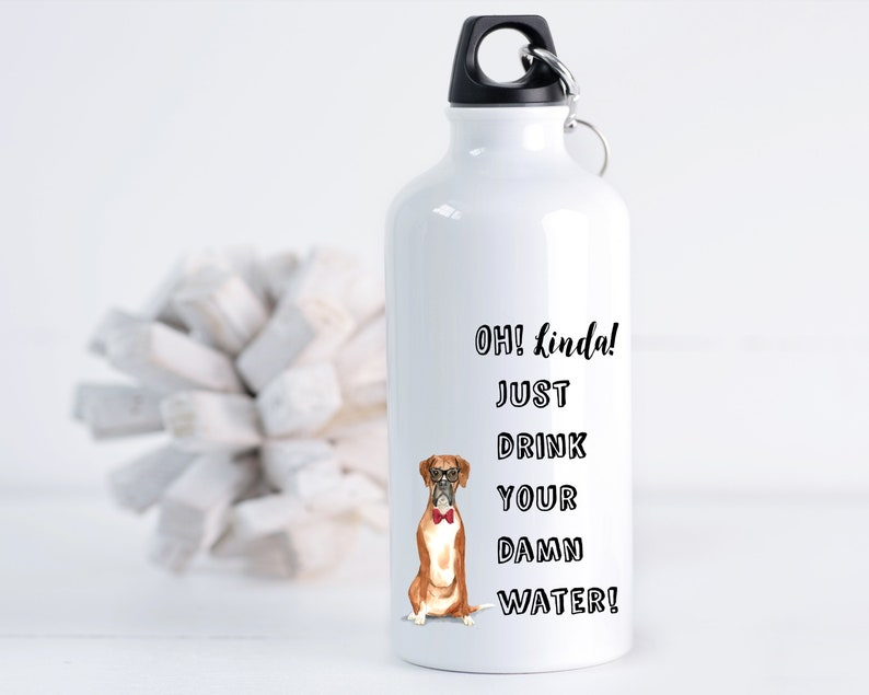 Boxer Portrait Personalized Stainless Steel Water Bottle Gift image 0