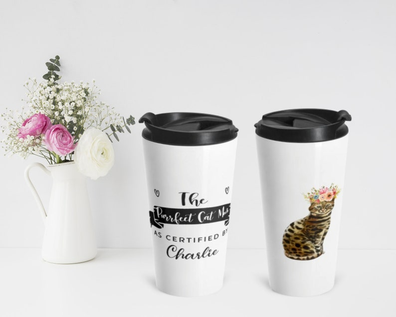Bengal Cat Portrait Personalized Stainless Steel Travel Mug image 0