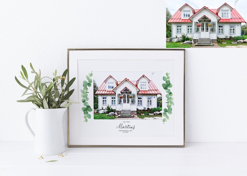 Watercolor House Painting Best Living Room Decor Handmade Gift image 0