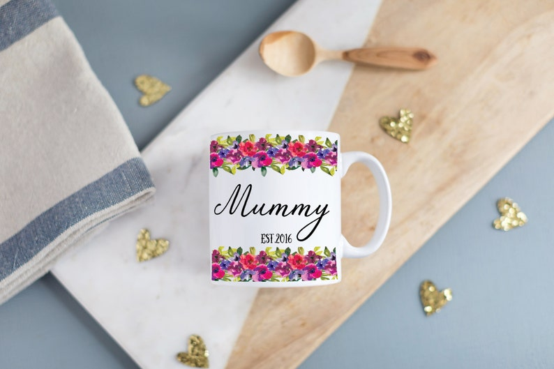 Personalized Floral Mug Perfect Mothers Day Gift Special image 0