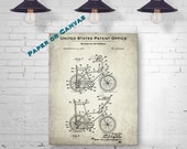 1968 Schwinn Stingray Bicycle Patent Art Print - Vintage Bicycle Blueprint Art - Cyclist Gift - Antique Bicycle Decor - Paper or Canvas