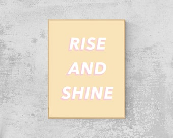 Rise and Shine Pastel Pop Wall Art | Digital Download, Printable Wall Art, Positive Quotes