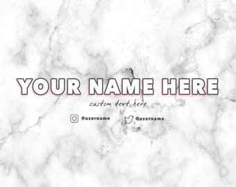 White Marble YouTube Banner - CUSTOMIZABLE