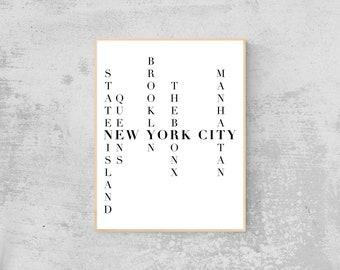 New York City Five Boroughs Art | Digital Download, Printable Wall Art, Minimalist Decor, Instant Download