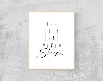 The City That Never Sleeps New York City Art | Digital Download, Printable Wall Art, Minimalist Decor, Instant Download