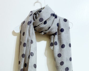 NEW Sheer Pink Polkadot Summer Scarf Scarve Wrap Long Made in Japan Head Neck