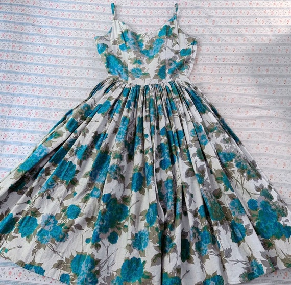 Vintage 1950s Blue Floral Sundress