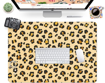 Gift For Coworker Working from Home Pastel Orange Leopard Print Desk Mat Mouse Mat Large Mouse Pad Office Decor Desk Accessories