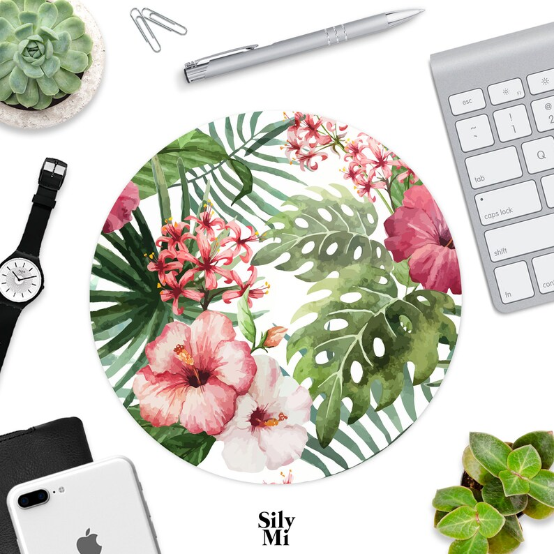 Mouse Pad Pink And Green Tropical Flowers Mousepads Desk Accessories Office Decor Circle Rectangle Floral Summer Ferns Palms Fabric Home Art
