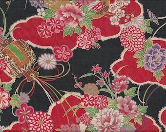 19.00 Eurmeter Japan fabric traditional cotton coke 50 cm x 110 cm Hanakumo black B270d