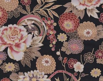 19.00 Eur/meter Traditional Japanese Fabrics Cotton By the Metre 50 cm x 110 cm Kiku black gold B305d