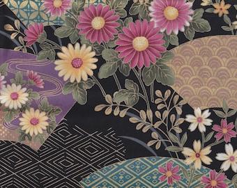 19.00 Eur/meter Japanese fabrics traditional motifs cotton by the metre 50 cm x 110 cm Hana sensu black pink B292a