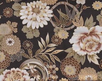 19.00 Eur/meter Traditional Japanese Fabrics Cotton By the Metre 50 cm x 110 cm Kiku brown gold B305c