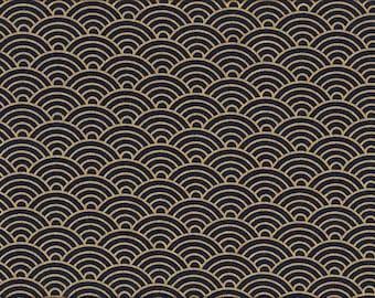 17.90 Eur/Meter Japanese cotton fabric 50 cm x 110 cm Seigaiha dark blue gold D1005b