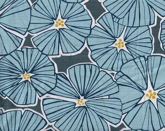 19.90 Eur/meter Traditional Japanese Fabrics Cotton By the Metre Dobby 50cm x 110cm Fuusio - Chrysanthemum Blue B314d