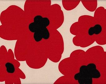 29.00 Eur/meter wax cloth laminated Japanese cotton fabric 50 cm x 110 cm Big flower red UT290b