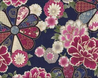 19.90 Eur/meter Japan fabric traditional cotton quilt gate 50cm x 110cm Hana navy B272d
