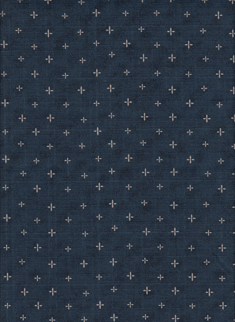 22.90 Eurmeter Japanese fabrics traditional cotton by the product 50 cm x 160 cm crosses navy D1398h