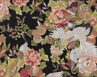 19.00 Eur/meter Japan fabric traditional cotton 50 cm x 110 cm Hana Tsuru black C3034a