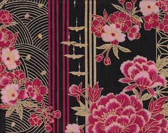 19.00 Eur/meter Japan fabric traditional cotton 50 cm x 110 cm Kiku asanoha black B163b