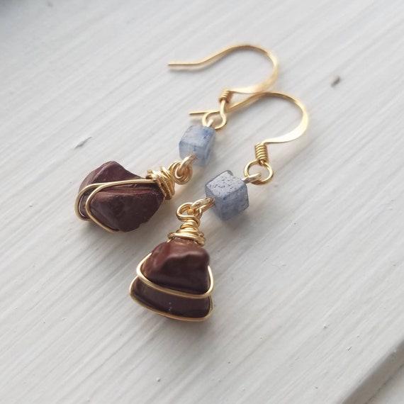 Gold wrap stone bead earrings
