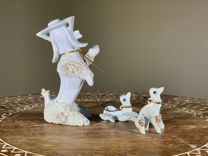 Mom with Two Pups on Leashes Blue Spaghetti Porcelain Poodles Set of Three