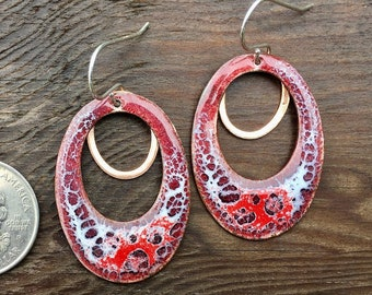 Hoop earrings / cool hoops / statement hoops / red earrings / copper hoops / unique earrings / one of a kind earrings / fun earrings