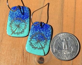 Whimsical earrings / fun earrings / blue earrings / green earrings / dandelion / garden earrings / unique earrings / handmade earrings