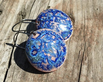 Gold earrings / blue earrings / disc earrings / blue and gold / metallic earrings / unique earrings / handmade earrings / circle earrings